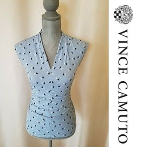 Vince Camuto V Neck Ruched  Sleeveless Top Sz XS